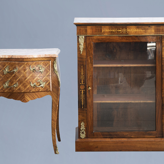 A French Louis XV style gilt bronze mounted bedside table with marble top and a Louis XVI style display cabinet, 19th/20th C.