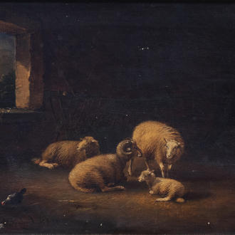 Frans Van Severdonck (1809-1889, in the manner of): Stable with sheep and chickens, oil on canvas, dated 1891