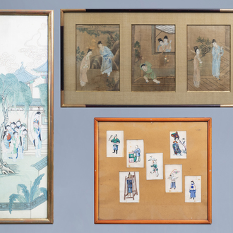 Chinese school, ink and colours on silk and pith paper, 18th/19th C.: Various paintings with figures