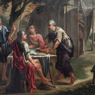European school: The supper at Emmaus, oil on canvas, 18th/19th C.