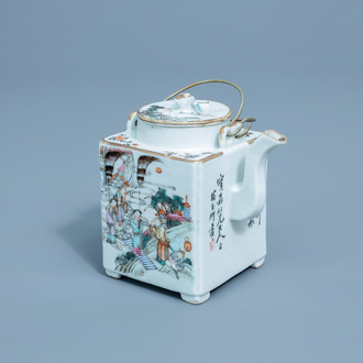 A square Chinese famille rose teapot and cover with figures, 19th/20th C.