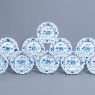 Six Italian blue and white deep plates and four flat plates with floral design, Ferniani, Milan, 18th C.