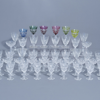 An extensive collection of clear and partly coloured overlay crystal cut glasses, Val Saint Lambert, 20th C.