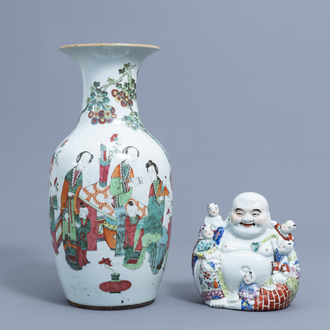 A Chinese famille rose figure of Buddha with children and a vase with figures on a terrace, 19th/20th C.