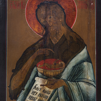 A large Russian icon, 'John the Forerunner', 19th C.
