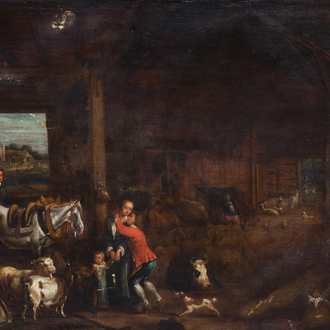 Flemish school: Animated stable interior, oil on canvas, 18th C.