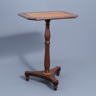 An English tripod wood side table with burl wood top, 19th C.