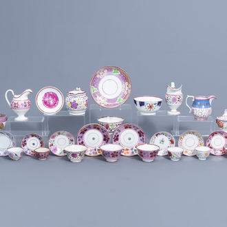 A varied collection of English pink lustreware items, 19th C.