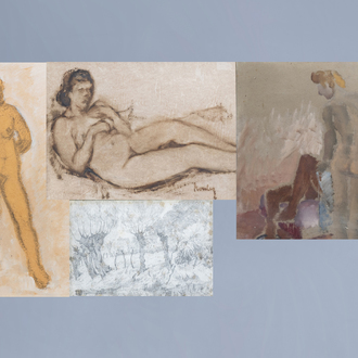 Jules Jacques Boulez (1889-1960): Four various works, mixed media on paper and cardboard
