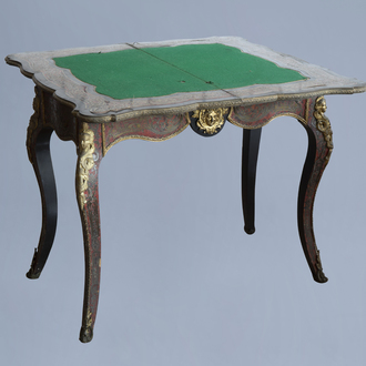 A French Historicism gilt mounted tortoiseshell and brass marquetry Boulle card tabel, 19th C.