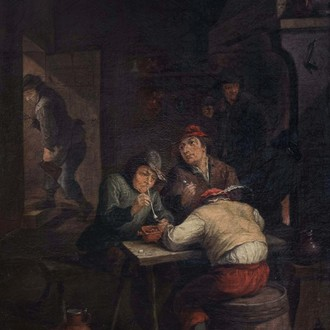 Flemish school, in the manner of Adriaen Jansz. van Ostade (1610-1685): Peasants smoking and drinking in a tavern, oil on canvas, 17th/18th C.