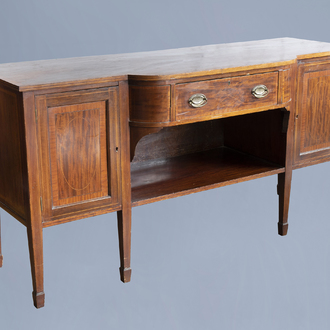 An English George III mahogany sideboard with a drawer over two doors, ca. 1800