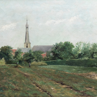 Illegibly signed (19th/20th C.): The labour on the land, oil on canvas