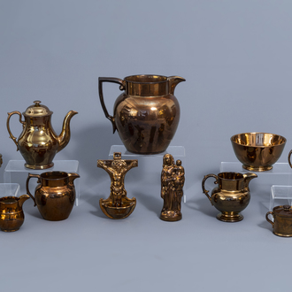 A varied collection of English monochrome copper lustreware items, 19th C.