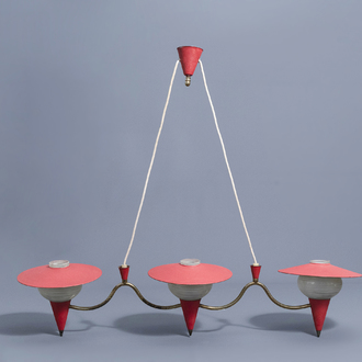 A glass and metal three-light chandelier in the manner of Jean Royere (1902-1981), 1950's-1960's