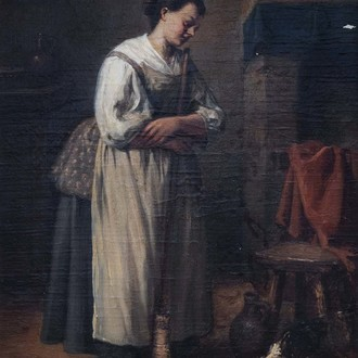 Jean-Baptiste Madou (1796-1877, in the manner of): The snack, oil on panel, dated 1856