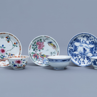 Three Chinese blue, white and famille rose cups and three saucers, Kangxi and later