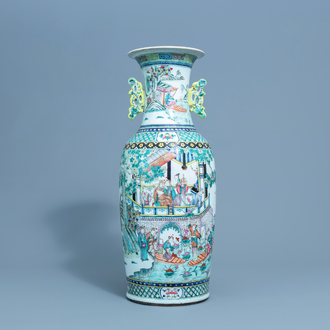 A Chinese famille rose vase with figures in a palace garden and birds among flower branches, 19th C.