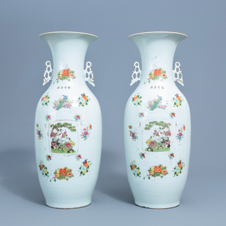 A pair of Chinese famille rose vases with birds and flowers, 19th/20th C.