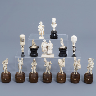A French seven-piece ivory orchestra and seven different sculptures and stamps, 19th/20th C.
