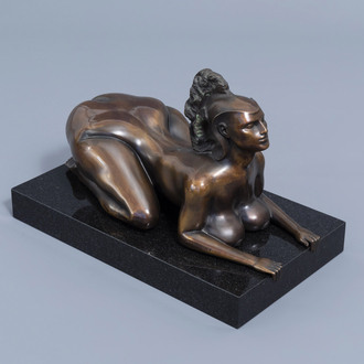 Ernst Fuchs (1930-2015): 'Sphinx', patinated bronze on a black marble base, ed. 901/1000, [1977]