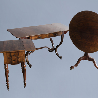 Three various French and English wooden tilt tables, 19th C.