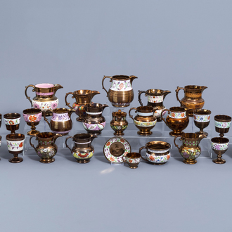 A varied collection of English lustreware items with polychrome floral design, 19th C.