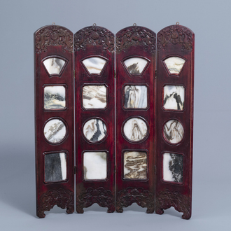 A four-part Chinese carved wood table screen with dream stone plaques, 19th/20th C.