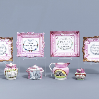 A varied collection of English pink lustreware items with texts, 19th C.