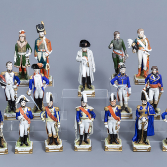 Sixteen figures from Napoleon's army in polychrome decorated Saxon porcelain, Scheibe-Alsbach mark, 20th C.