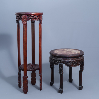 Two Chinese carved wooden stands with marble and cloisonné tops, 20th C.
