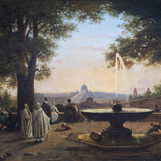Jodocus Sebastiaen Van den Abeele (1797-1855) and/or circle: A view on Rome from the terrace of the Villa Medici, oil on canvas, dated 1845
