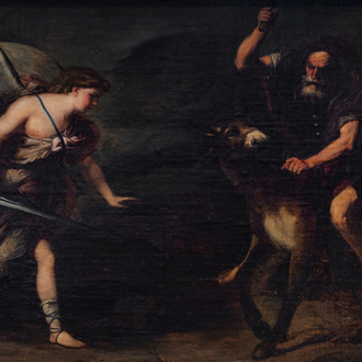 Italian school, circle of Luca Giordano (1634-1705): Balaam and the Ass, oil on canvas marouflated on panel, 17th C.