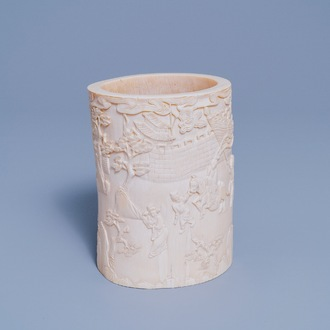 A Chinese ivory brush pot, 18th/19th C.