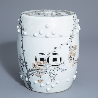 A Chinese qianjiang cai miniature garden seat with floral design, 20th C.