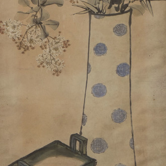 Chinese school, ink and colours on paper, 19th/20th C.: A still life