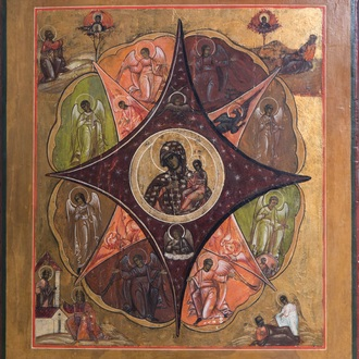 A large Russian icon, 'Our Lady of the Burning Bush', 19th C.