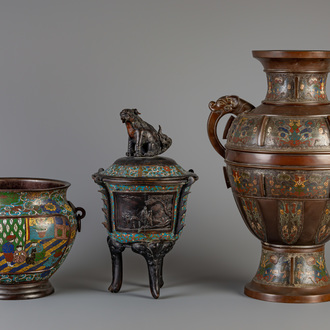 A Japanese vase, a censer and a jardinière in champlevé and cloisonné, Meiji, 19th/20th C.