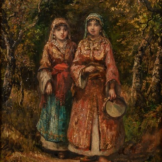 Camille Magnus (1850-?): Young musicians in a forest, oil on panel