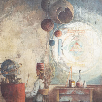 Militch de Matchva (1934-2000/4): The alchemist, oil on canvas marouflated on board, dated 1984