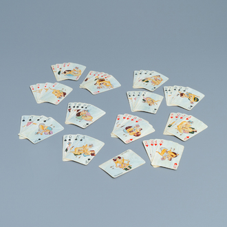 A complete playing cards set with erotic miniatures on ivory, India, early 20th C.