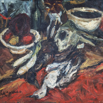 Dolf Jaspers (1933-1976): Still life with fruit and poultry, oil on canvas