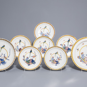 Eight Dutch Delft polychrome chargers and plates with a parrot, 18th C.