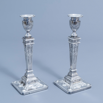 A pair of Victorian silver plated candlesticks in the style of Robert Adam, James Pinder & Co, Sheffield, last quarter of the 19th C.