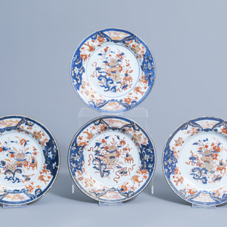 Four Chinese Imari style plates with antiquities and floral design, Qianlong