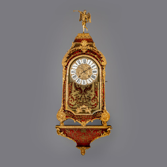 A French gilt bronze mounted red tortoiseshell and brass marquetry cartel clock and console, 18th C.
