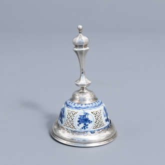 A Dutch silver table bell with an open worked blue and white Transition bowl with floral design, 17th C. and later