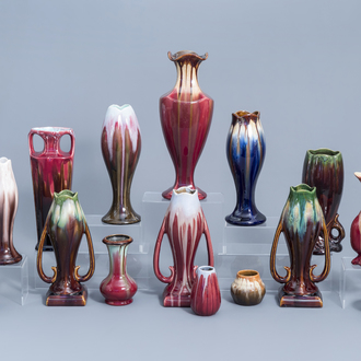 Seventeen polychrome Art Nouveau and Art Deco vases, a.o. Thulin, first half of the 20th C.