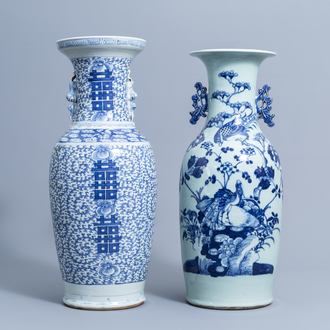 A Chinese blue and white celadon ground vase with birds among blossoming branches and a blue and white 'Shou' vase, 19th/20th C.