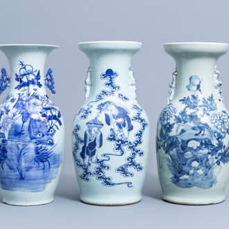 Three various Chinese blue and white celadon ground vases, 19th/20th C.